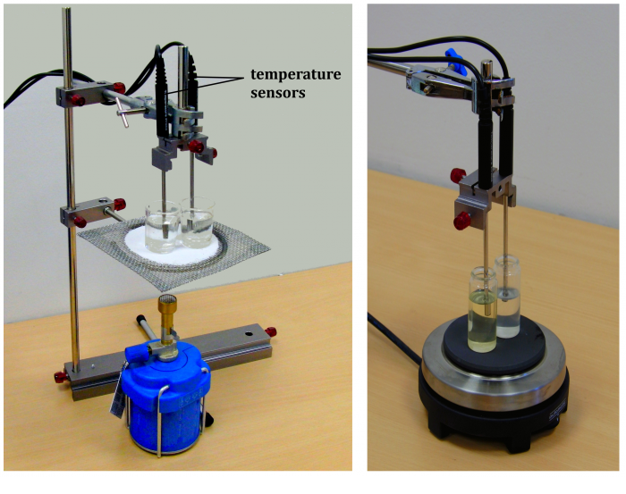 Fig. 3: Different options of arrangement of the experiment (with burner and with cooker)